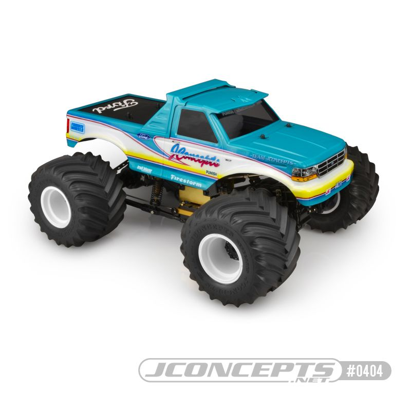 JConcepts 1993 Ford F-250 monster truck body w/racerback and sun visor (Fits - 7