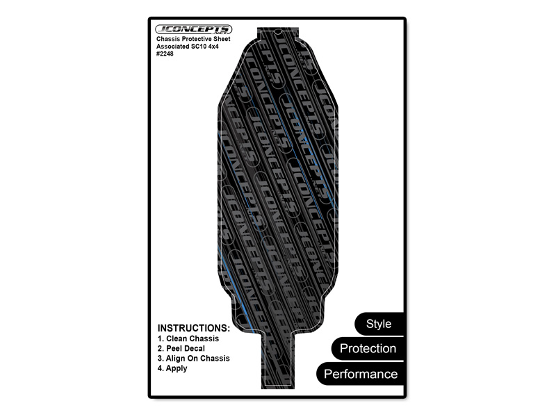 JConcepts SC10 4x4 - precut chassis protective sheet - black
