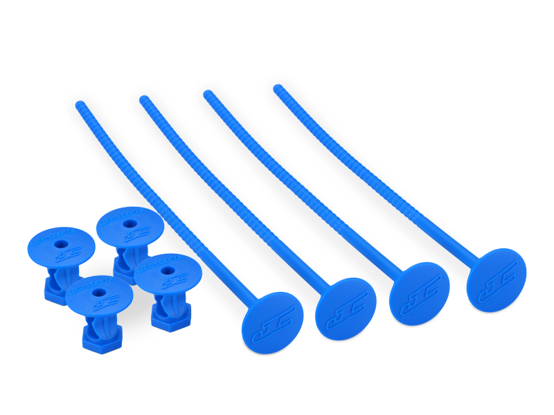 JConcepts 1/10th off-road tire stick - holds 4 mounted tires (blue) - 4pc.