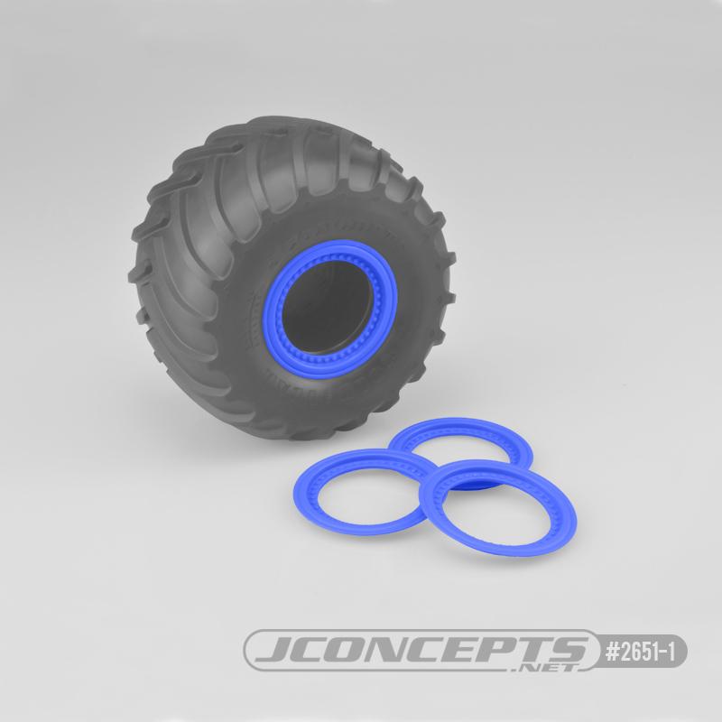 JConcepts Tribute wheel mock beadlock rings - blue - glue-on set, 4pc. (Fits - #3377 Tribute wheels)