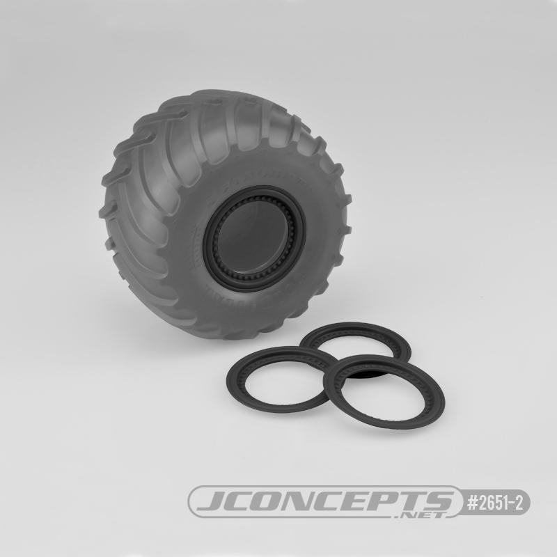 JConcepts Tribute wheel mock beadlock rings - black - glue-on set, 4pc. (Fits - #3377 Tribute wheels)