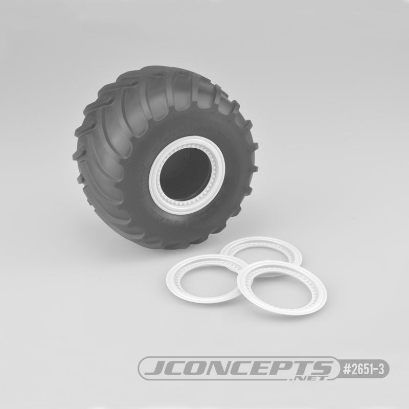 JConcepts Tribute wheel mock beadlock rings - white - glue-on set, 4pc. (Fits - #3377 Tribute wheels)