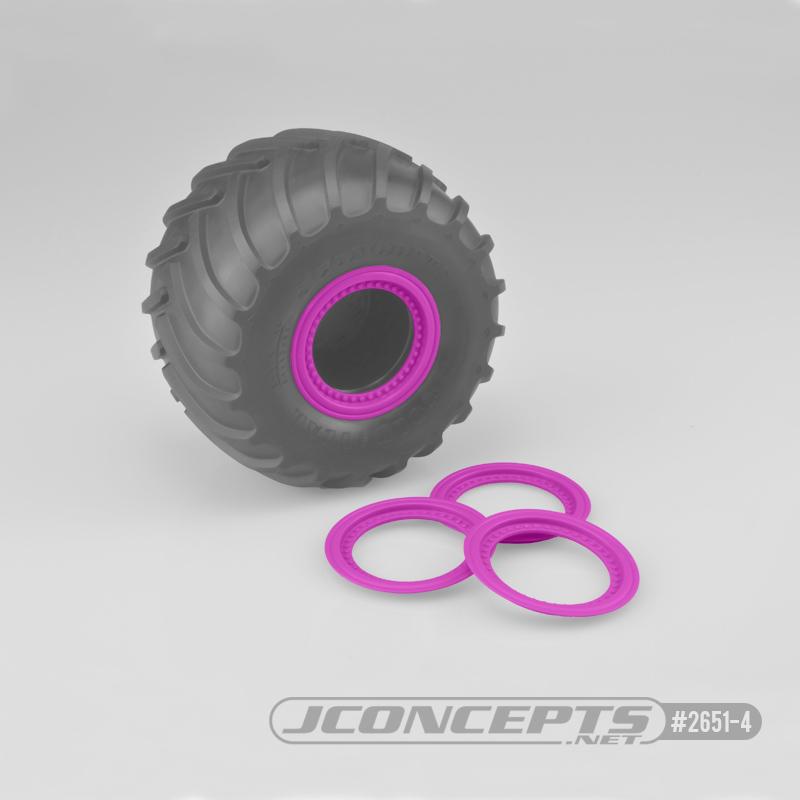 JConcepts Tribute wheel mock beadlock rings - pink - glue-on set, 4pc. (Fits - #3377 Tribute wheels)