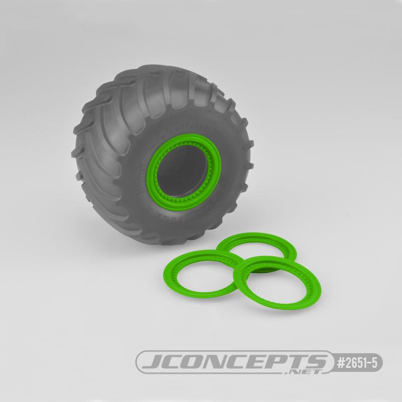 JConcepts Tribute wheel mock beadlock rings - green - glue-on set, 4pc. (Fits - #3377 Tribute wheels)