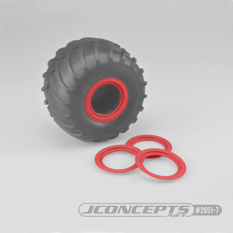 JConcepts Tribute wheel mock beadlock rings - red - glue-on set, 4pc. (Fits - #3377 Tribute wheels)