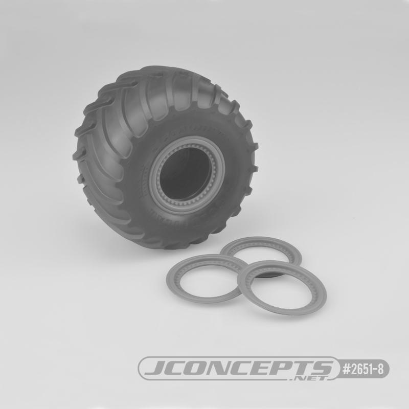 JConcepts Tribute wheel mock beadlock rings - silver - glue-on set, 4pc. (Fits - #3377 Tribute wheels)