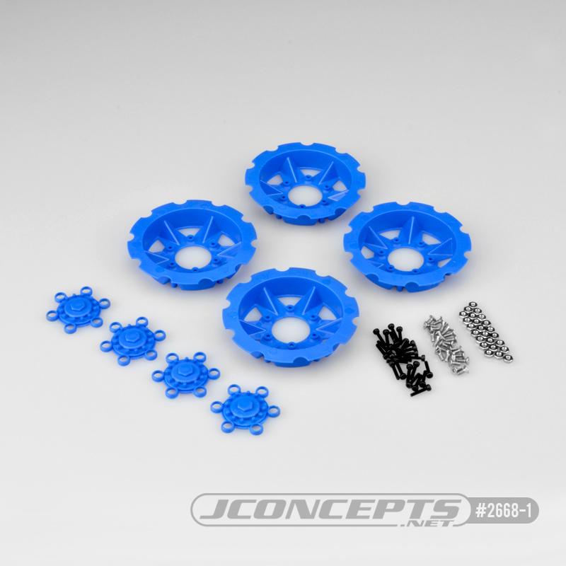 JConcepts Tracker wheel discs, 4pc - blue (Fits - #3379 Dragon wheels)