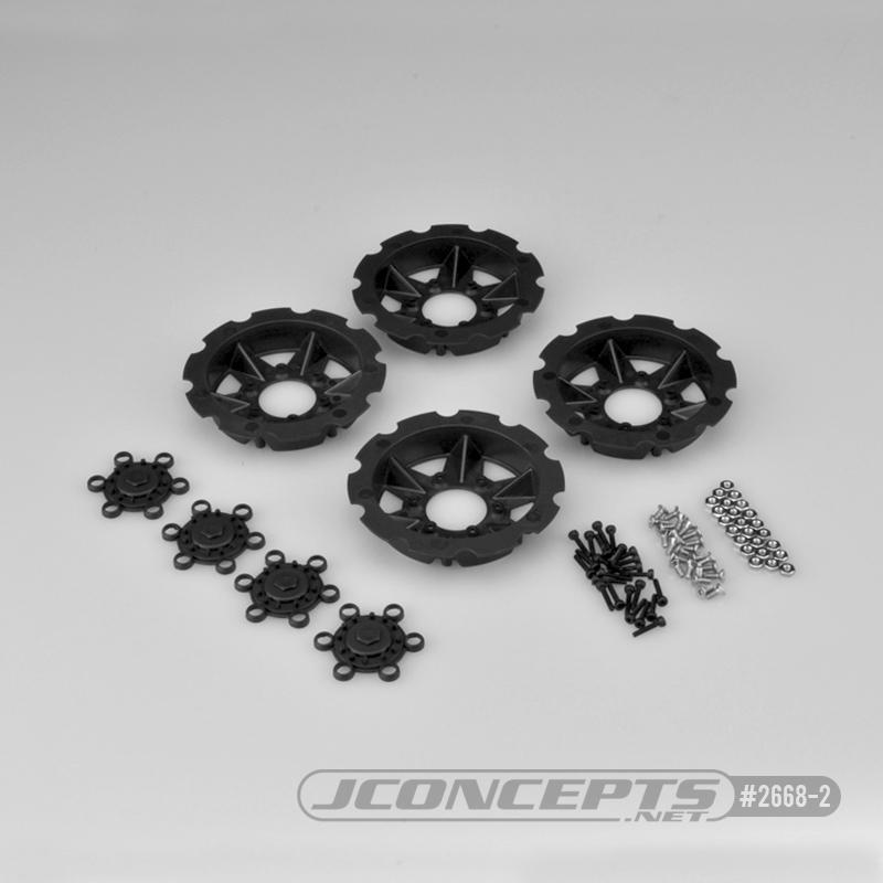 JConcepts Tracker wheel discs, 4pc - black (Fits - #3379 Dragon wheels)