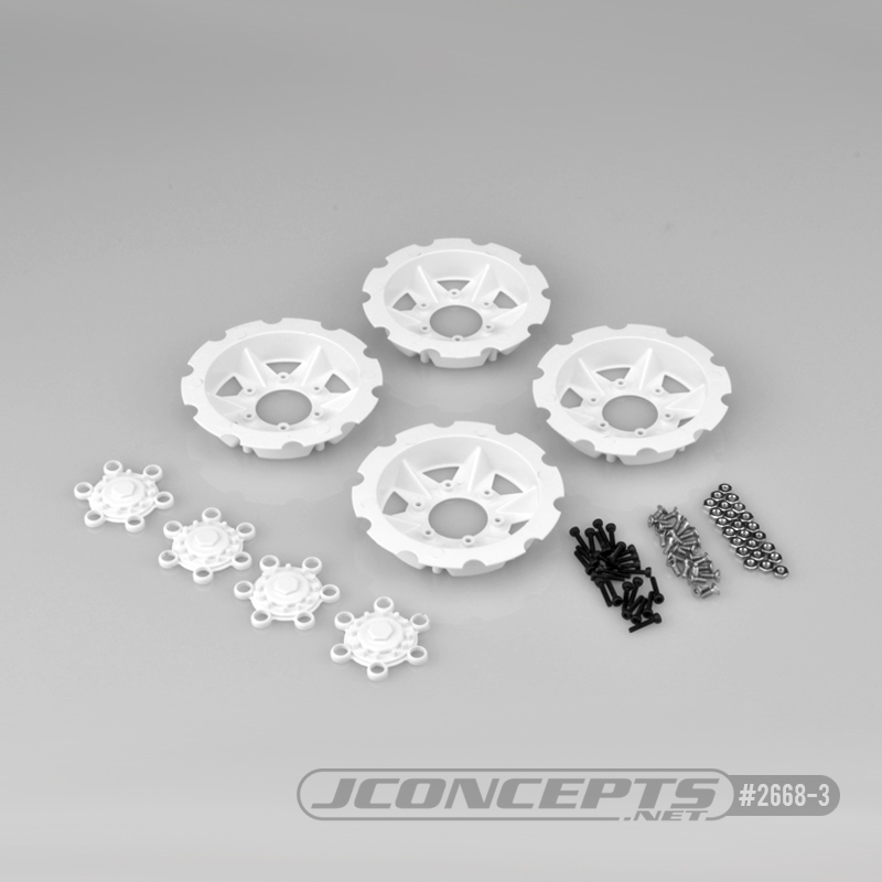 JConcepts Tracker wheel discs, 4pc - white (Fits - #3379 Dragon wheels)