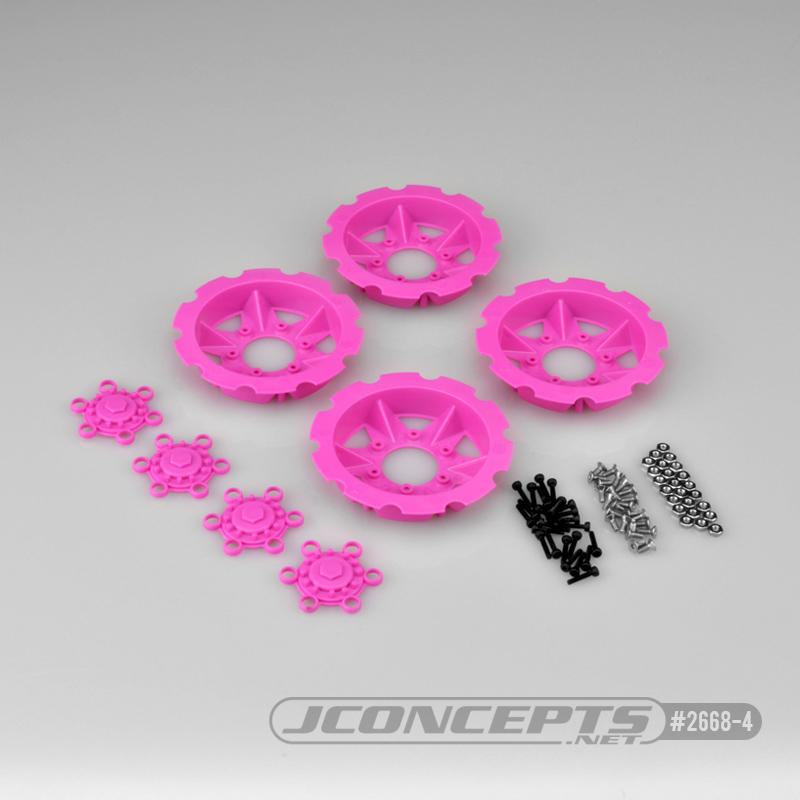 JConcepts Tracker wheel discs, 4pc - pink (Fits - #3379 Dragon wheels)