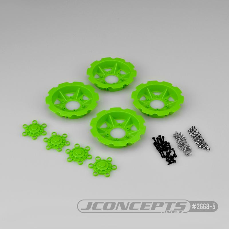 JConcepts Tracker wheel discs, 4pc - green (Fits - #3379 Dragon wheels)