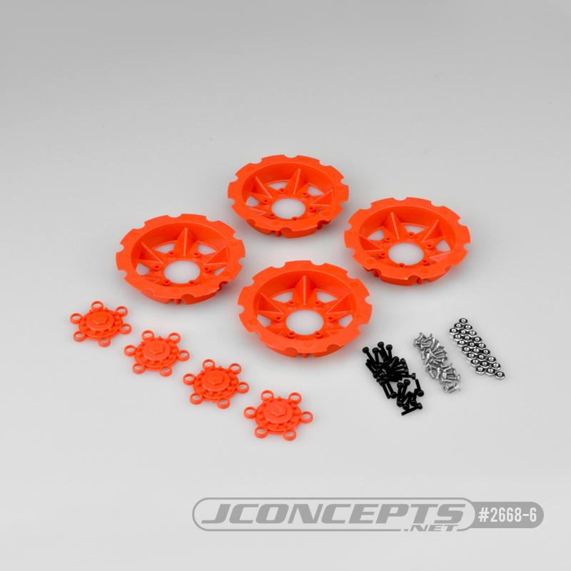 JConcepts Tracker wheel discs, 4pc - orange (Fits - #3379 Dragon wheels)