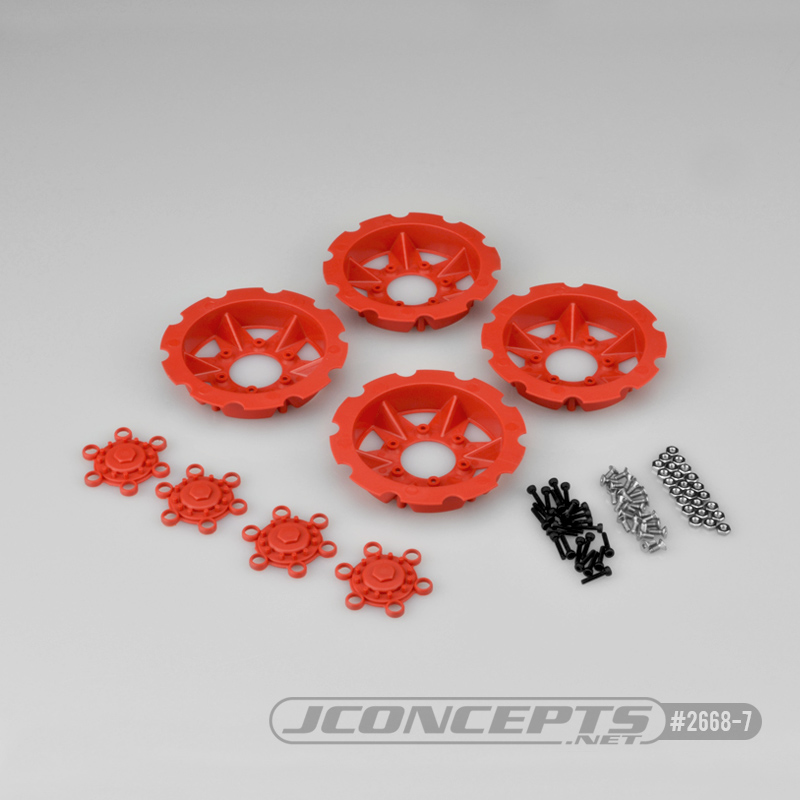 JConcepts Tracker wheel discs, 4pc - red (Fits - #3379 Dragon wheels)