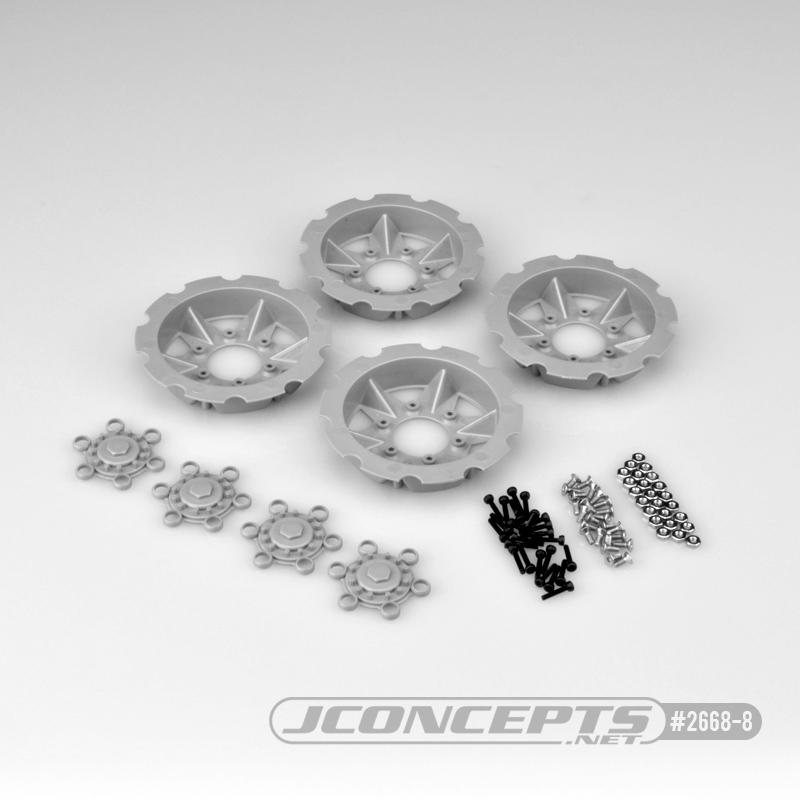 JConcepts Tracker wheel discs, 4pc - silver (Fits - #3379 Dragon wheels)