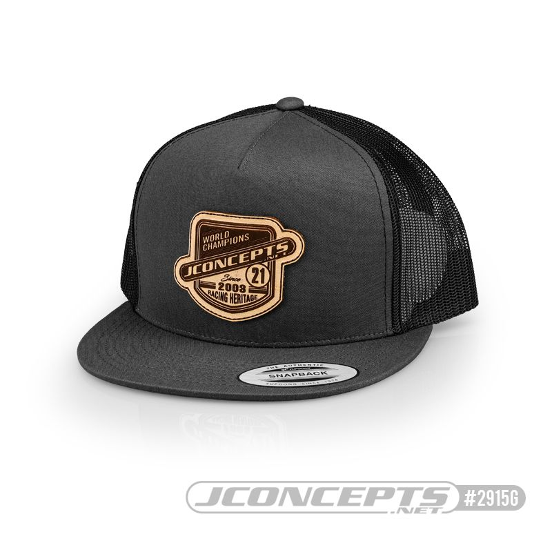 JConcepts Heritage 21 hat flat bill, mesh, snap-back design Gray