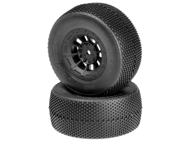 JConcepts Double Dees - green compound - black Hazard 12mm wheel - (Losi SCT-E, 22 SCT pre-mounted)