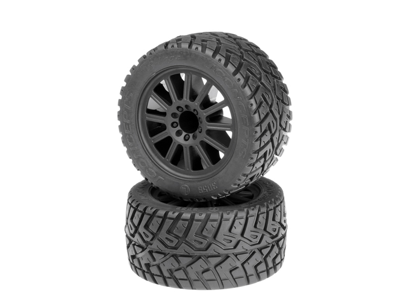 JConcepts G-Locs - yellow compound - white wheel - (pre-mounted) - E-Stampede and E-Rustler 2wd rear