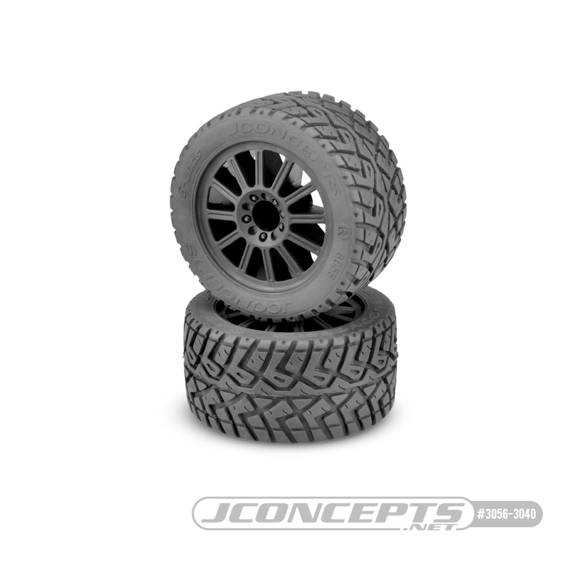 JConcepts G-Locs - yellow compound - black wheel - (pre-mounted) - E-Stampede and E-Rustler 2wd rear