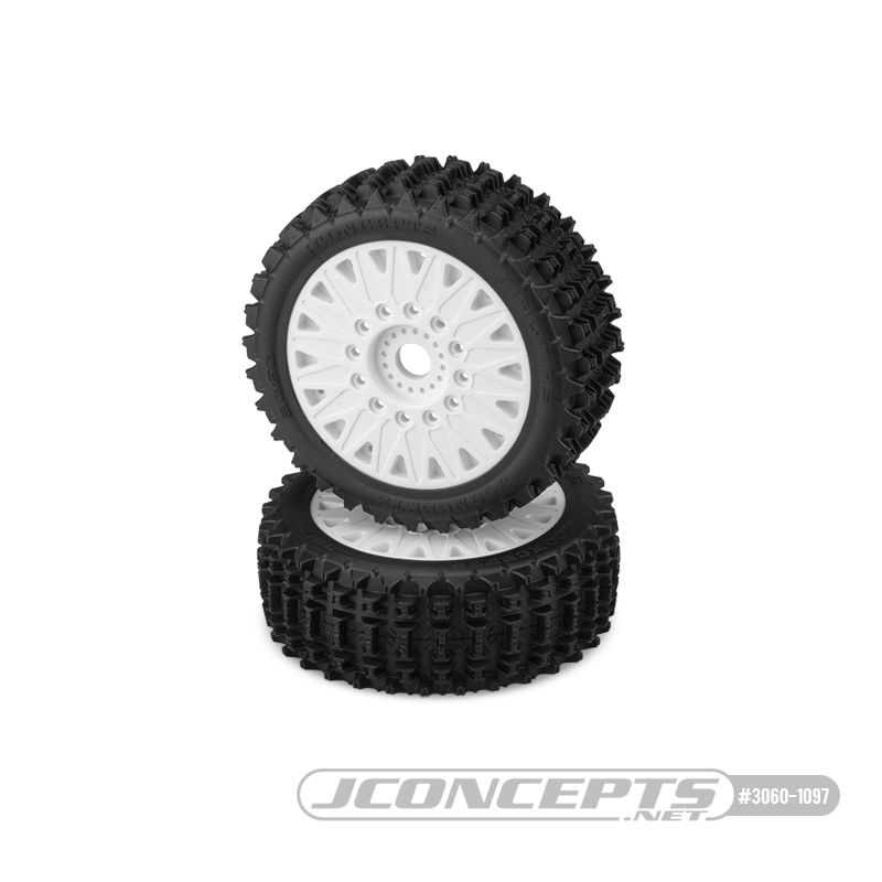 JConcepts Magma - yellow compound, pre-mounted on white #3395 wheels (12 & 17mm adaptors included)