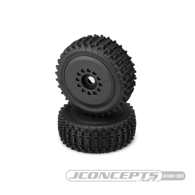 JConcepts Magma - yellow compound, pre-mounted on black #3395 wheels (12 & 17mm adaptors included)