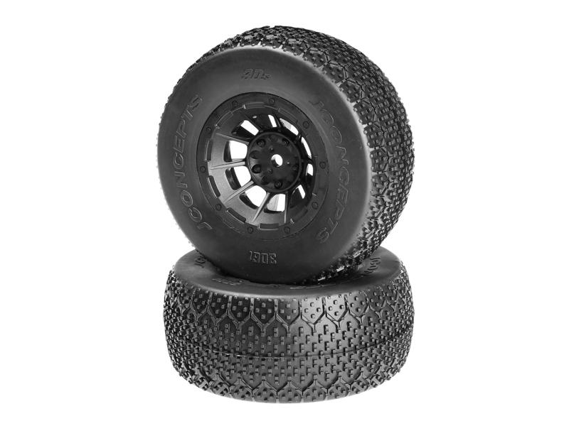 JConcepts 3Ds - green compound - black Hazard 12mm wheel - (Slash 2wd front pre-mounted)