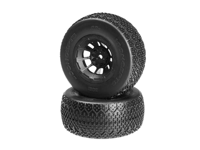 JConcepts 3Ds - green compound - black Hazard 12mm wheel - (Slash R, Slash 4x4 F-R pre-mounted)