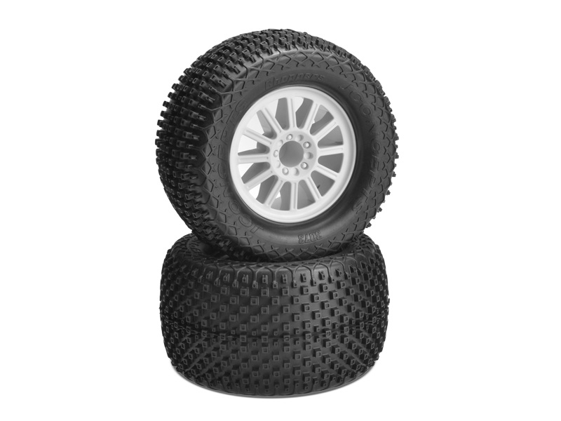 JConcepts Choppers - blue compound - white wheel - (pre-mounted) - Stampede 4x4 F&R and E-Stampede and E-Rustler 2wd front