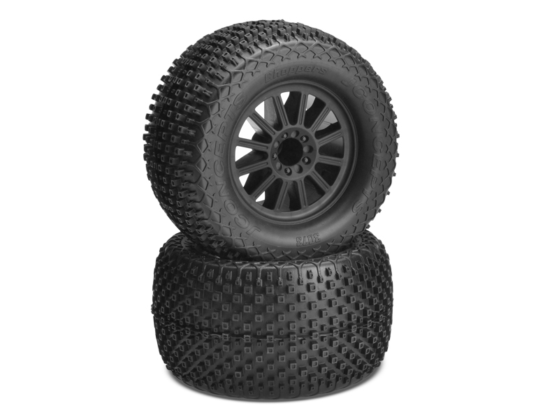 JConcepts Choppers - blue compound - black wheel - (pre-mounted) - E-Stampede and E-Rustler 2wd rear