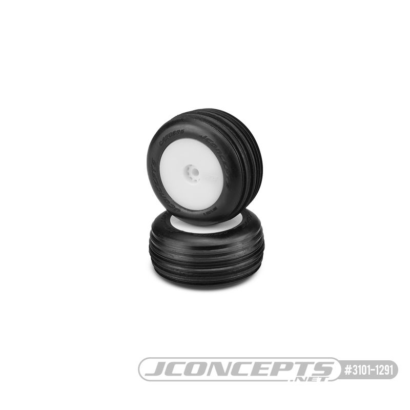 JConcepts Carvers - green compound - pre-mounted, white wheels (Fits - Losi Mini-T 2.0)