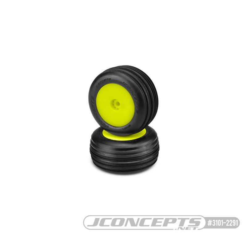 JConcepts Carvers - green compound - pre-mounted, yellow wheels (Fits - Losi Mini-T 2.0)