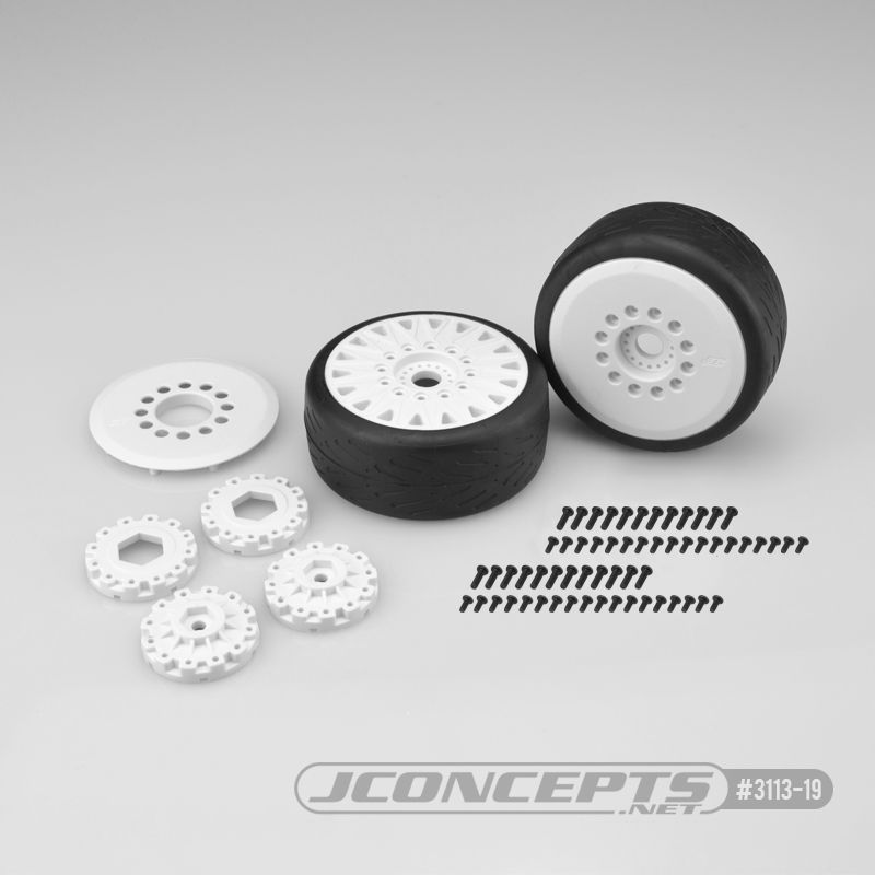 JConcepts Speed Fangs - platinum compound, belted, pre-mounted on white #3395 wheels