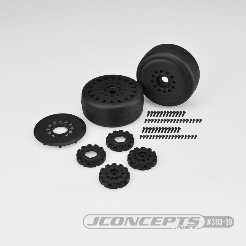 JConcepts Speed Fangs - platinum compound, belted, pre-mounted on black #3395 wheels