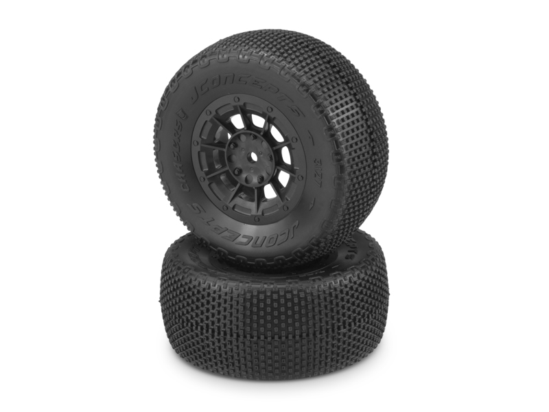 JConcepts LiL Chasers - green compound - black Hazard 12mm wheel - (Losi SCT-E, 22 SCT pre-mounted)