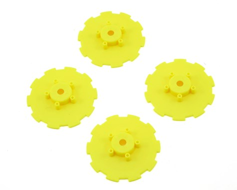 JConcepts Hazard - SC10.2 / SC10 4x4 - wheel dish - 4pc. - (yellow) - fits 3344 wheel