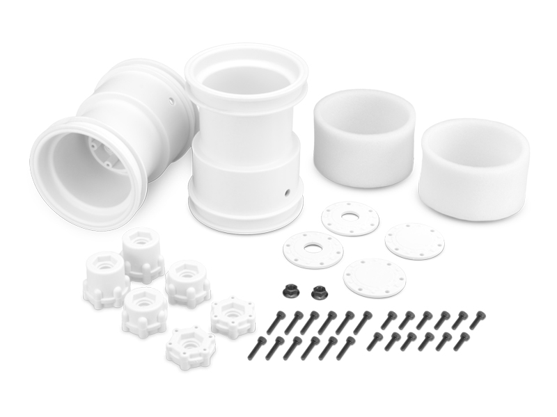 JConcepts 2.6in x 3.6in Monster Truck Wheel W/Adaptors (White) (2)