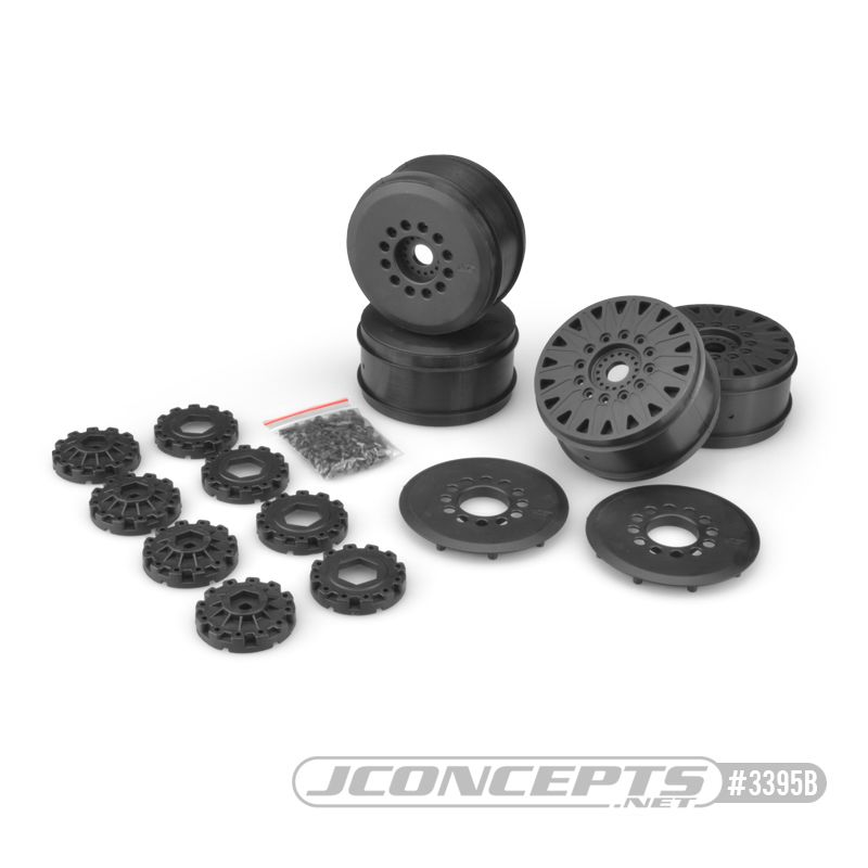 JConcepts Cheetah 83mm speed-run wheel w/ 12 and 17mm hex adaptor, 4pc. (black)