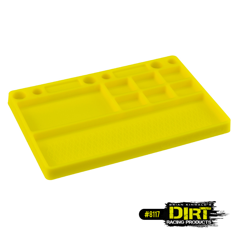 JConcepts Dirt Racing Products - parts tray, rubber material - yellow Size: 181mm x 114mm x 12.5mm (7.125