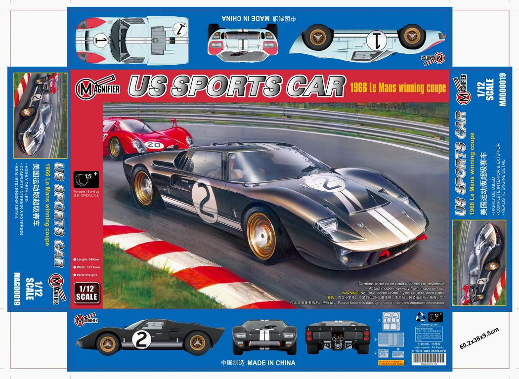 Magnifier 1/12 US Sports Car 1966 Le Mans Winning Coupe