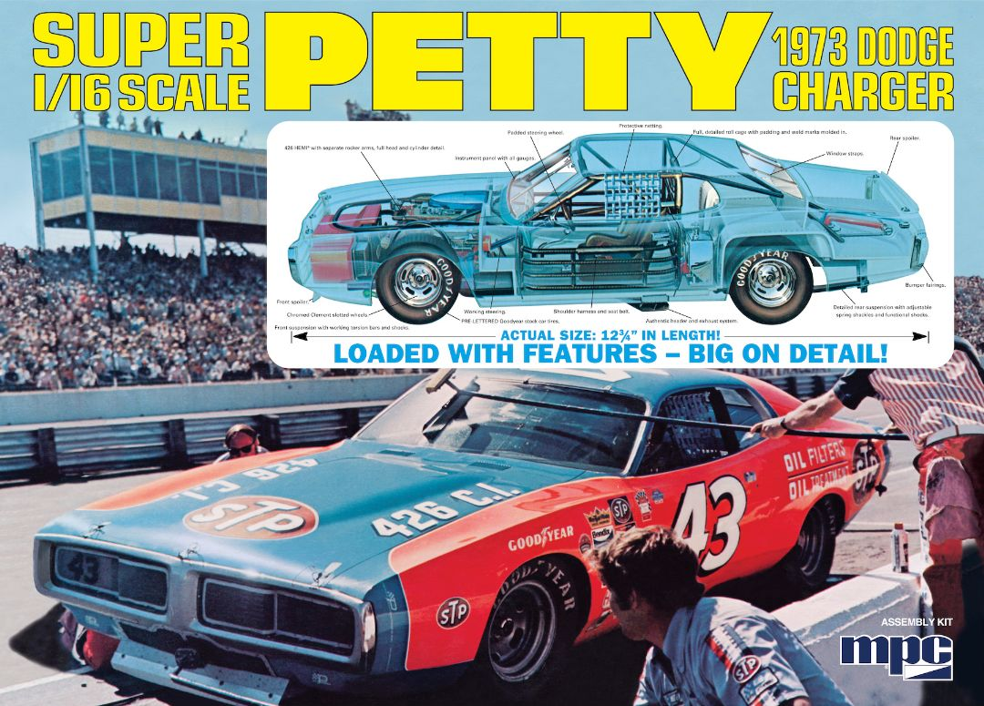 MPC Richard Petty 1973 Dodge Charger 1/16 Model Kit (Level 3) - Click Image to Close