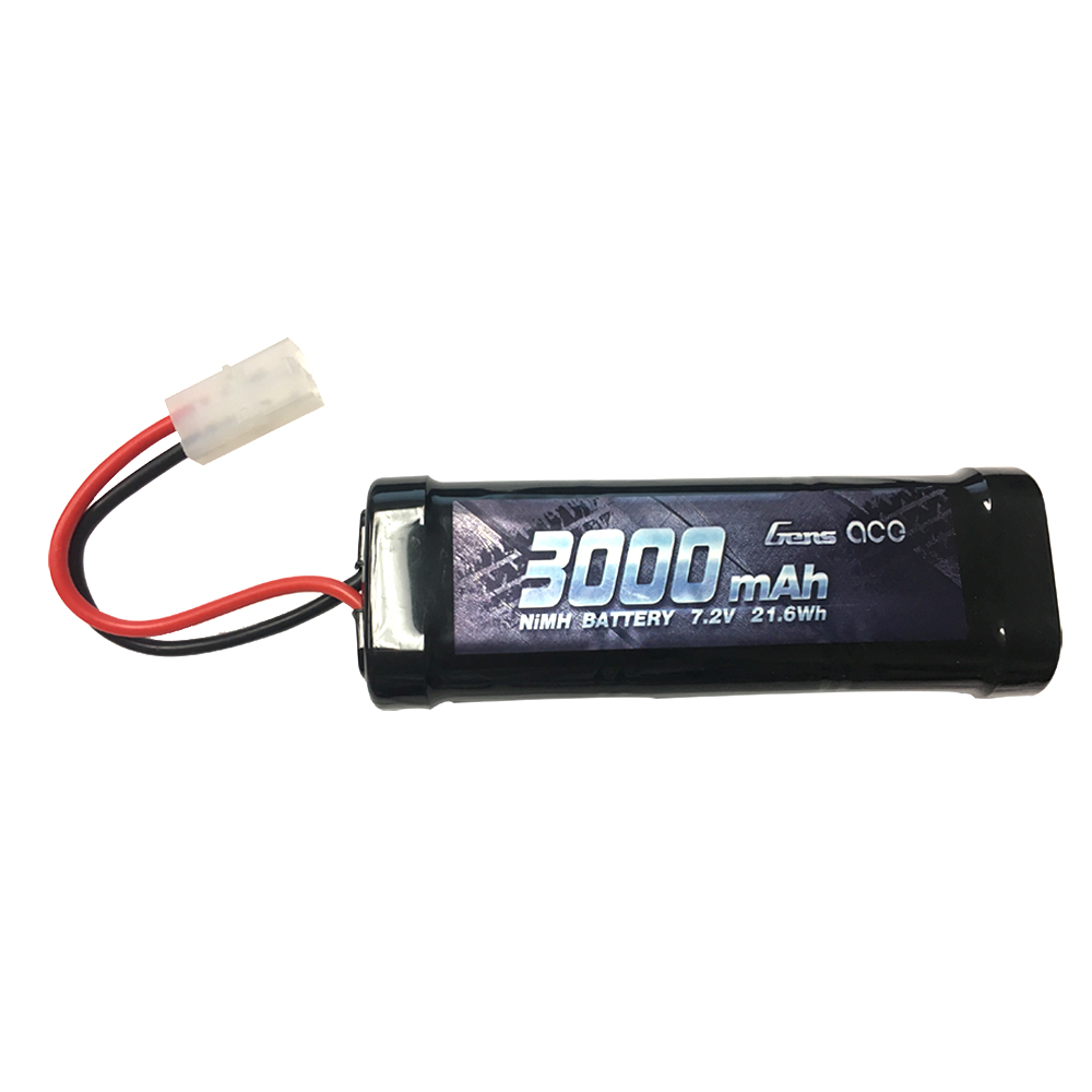 Gens Ace - 250 - 3000mAh 6 Cell 7.2V Nimh Tamiya Plug Soft Case 135x 47x24mm