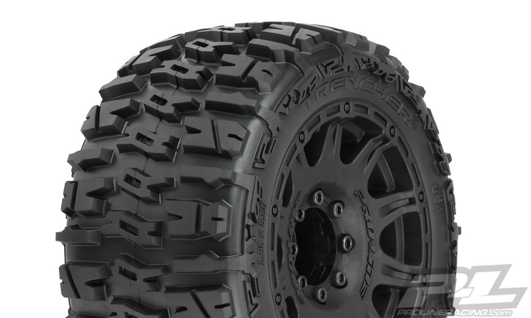 "Pro-Line Trencher LP 3.8"" All Terrain Tires Mounted on Raid Bla"
