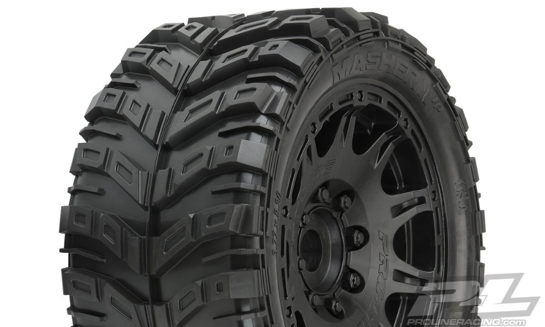Pro-Line Masher X HP All Terrain BELTED Tires Mounted on Raid 5.7
