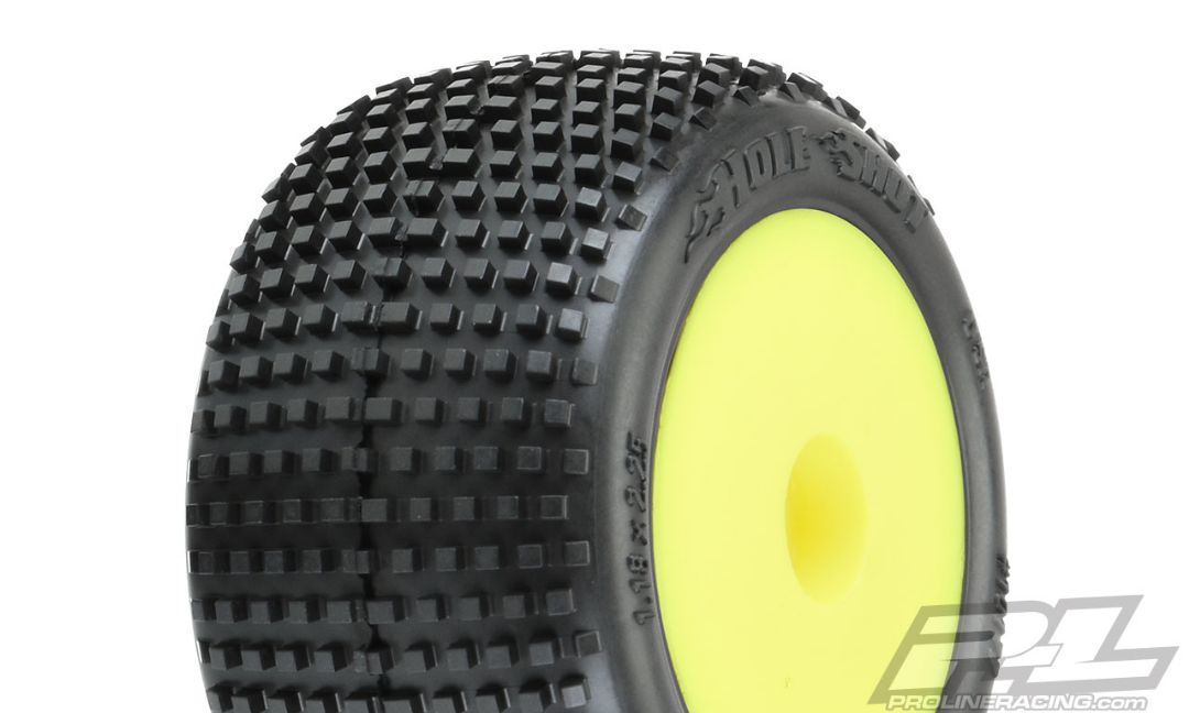 Pro-Line Hole Shot Off-Road Mini-T 2.0 Tires Mounted on Yellow Wheels (2) for Mini-T 2.0 Front or Rear