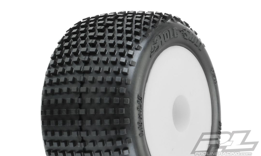 Pro-Line Hole Shot Off-Road Mini-T 2.0 Tires Mounted on White Wheels (2) for Mini-T 2.0 Front or Rear