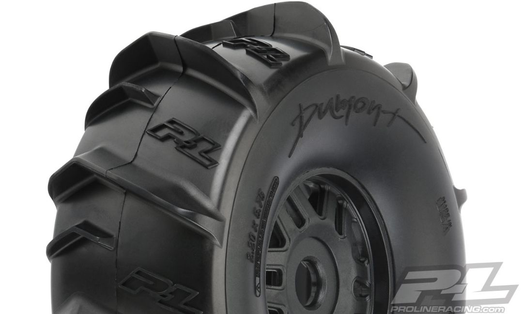 Pro-Line Dumont Paddle Sand/Snow Tires Mounted on Black Wheels (2) for ARRMA Mojave Front or Rear
