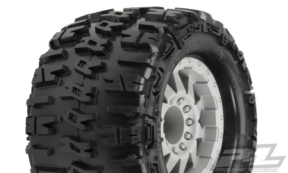 Pro-Line Trencher X 3.8 (Traxxas Style Bead) All Terrain Tires Mounted on F-11 Stone Gray 1/2 Offset 17mm Wheels (2) for 17mm MT Front or Rear