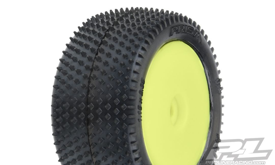 Pro-Line Prism Carpet Mini-B Tires Mounted on Yellow Wheels (2) for Mini-B Rear