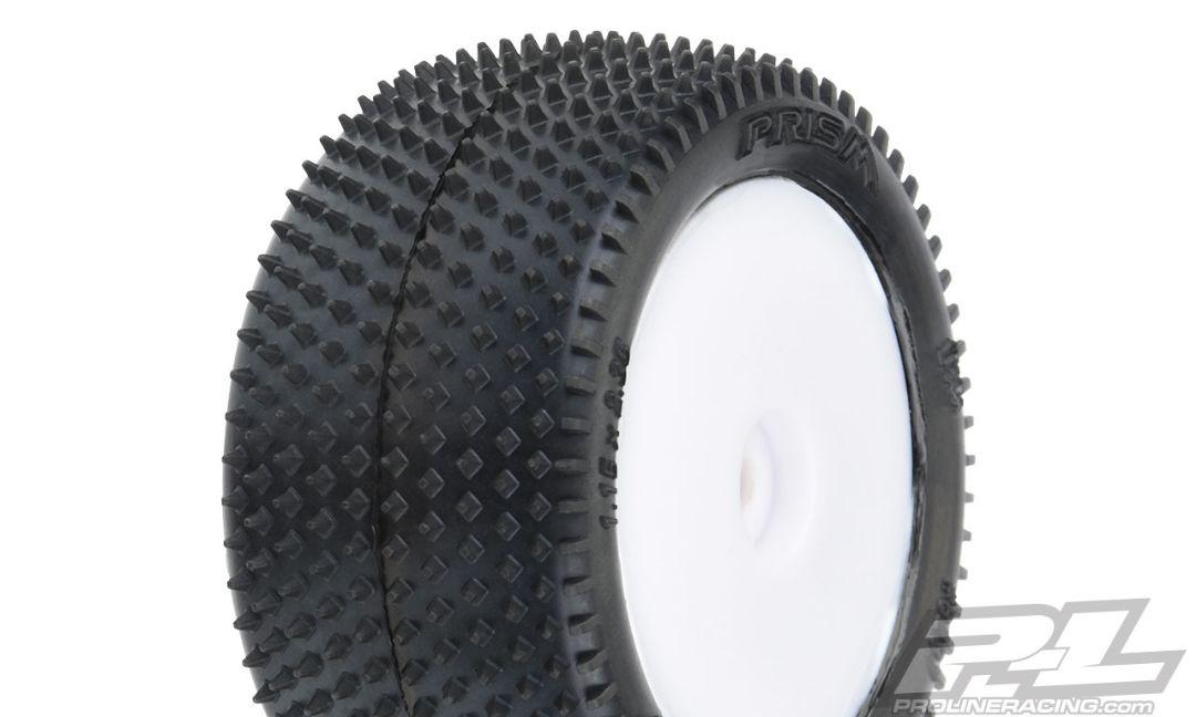 Pro-Line Prism Carpet Mini-B Tires Mounted on White Wheels (2) for Mini-B Rear
