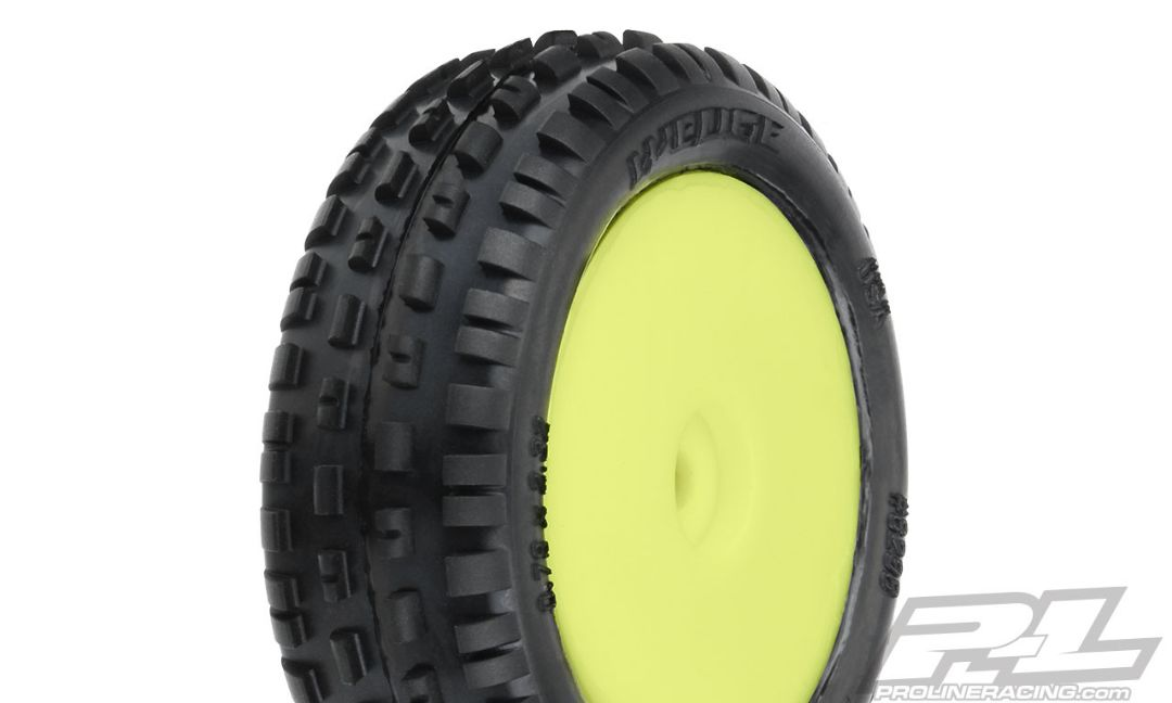Pro-Line Wedge Carpet Mini-B Tires Mounted on Yellow Wheels (2) for Mini-B Front