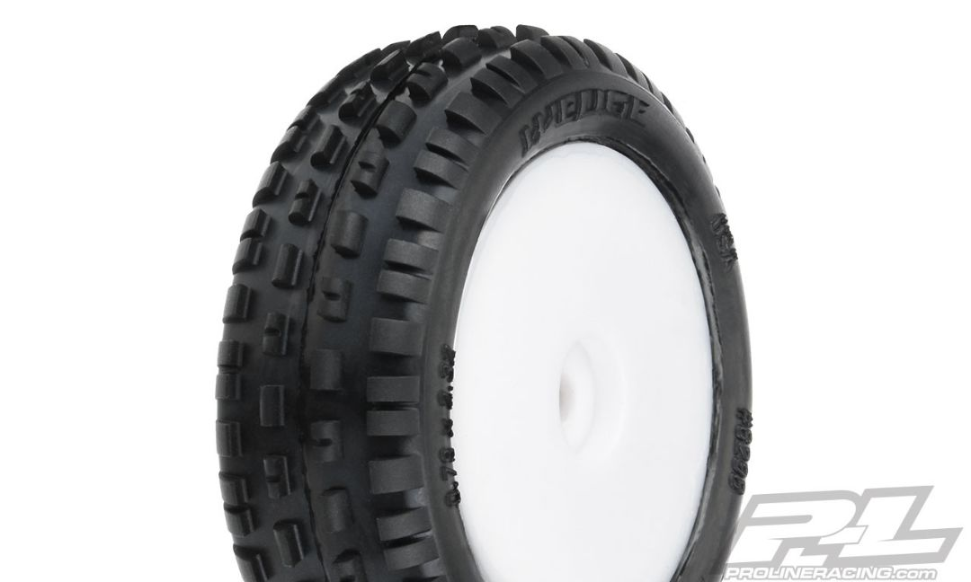 Pro-Line Wedge Carpet Mini-B Tires Mounted on White Wheels (2) for Mini-B Front